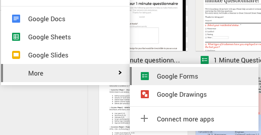 Click > Google Forms